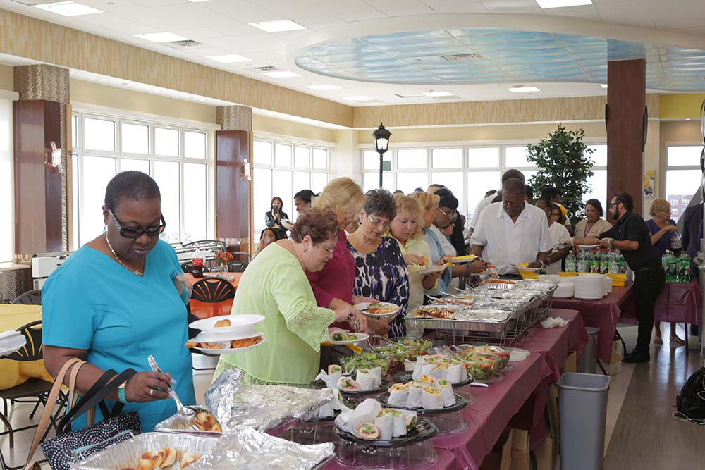 holiday party buffet lunch at haym salomon in brooklyn nyc rehabilitation center