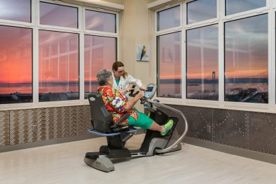 Old women getting physical therapy at Haym Salomon Home for nursing & rehabilitation. Nursing home sunset view. Causes of anemia & treatment at Haym Salomon Home Brooklyn, NYC