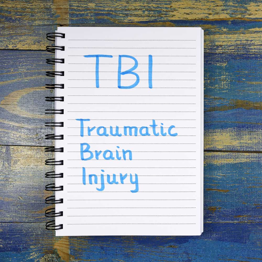Traumatic Brain Injury written on a notepad