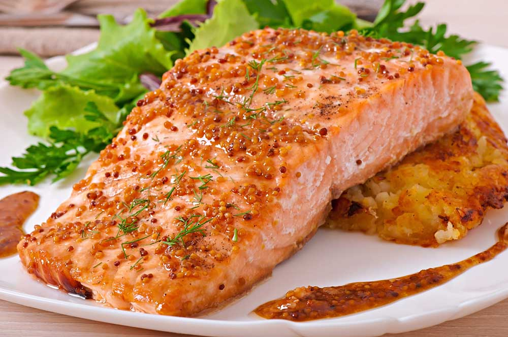 Baked salmon with potato gratin - holiday meal ideas for elderly