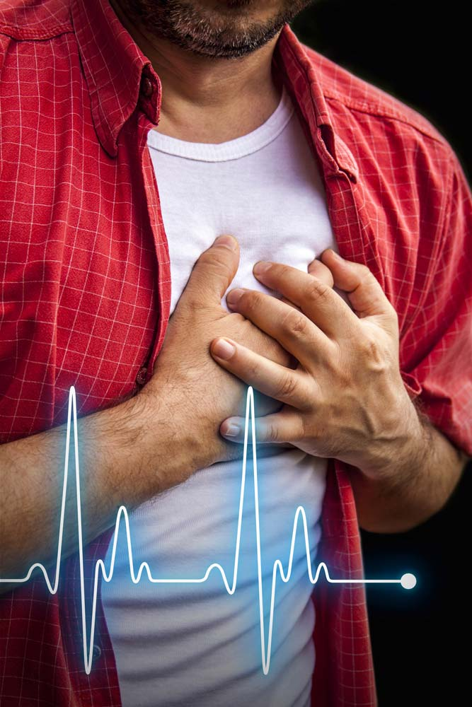 Man with chest pain. Cardiovascular physical therapy can help preventing chest pain and heart attacks