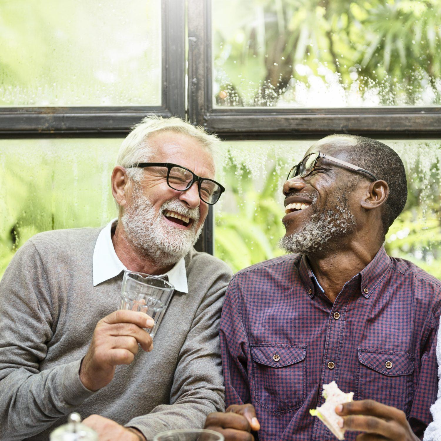 Two elderly men having fun and laughing which will benefit their health